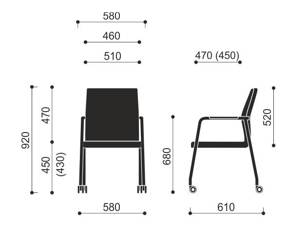 Wymiary krzesła Acos 30HC