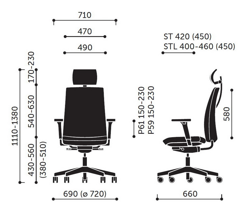 Wymiary fotela Motto STL