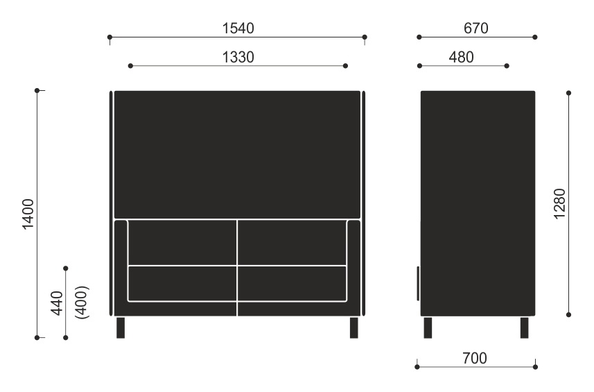 Wymiary sofy ze ściankami